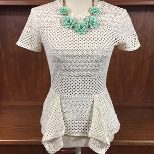 Gorgeous BCBG cream peplum lace top💚